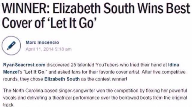 "Elizabeth South Winner ""Let It Go"" Blog Ryan Seacrest"